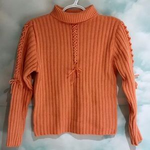 Sweaters - Salmon lace-up bow sweater